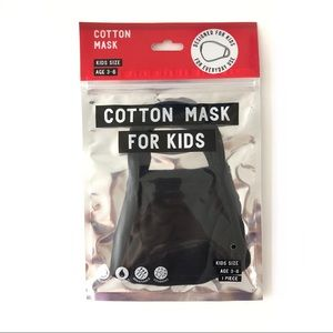 Black Cotton Face Mask for Kids Age 3-6 Daiso